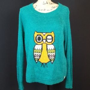 Woolrich orange winking Owl teal sweater C313:5:81